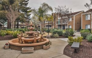 Town & Country Apartments - Walkway and water fountain