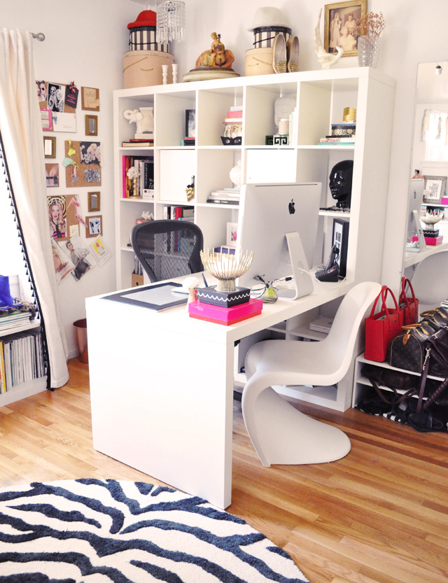 apartment office with bookshelf room divider