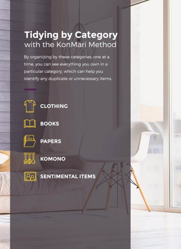 Tidy by category starting with clothing and finishing with sentimental items